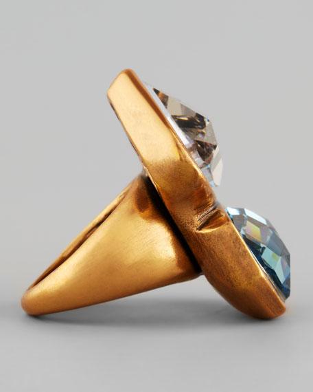 Oscar de la Renta Abstract Faceted Crystal Ring, White/Aquamarine