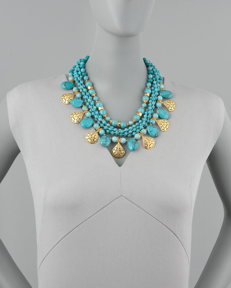 Multi-Strand Turquoise & Gold Plate Necklace