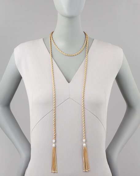 "Long Tassel-End Rope Necklace, 60""L"