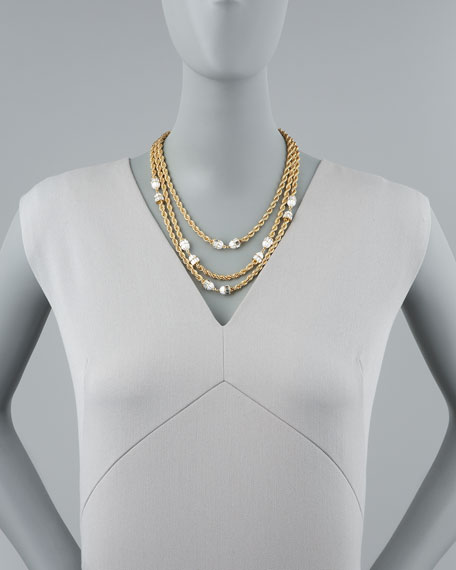 Three-Strand Twisted Chain Necklace, White