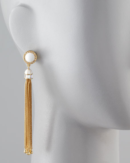 Tassel Post Earrings, White