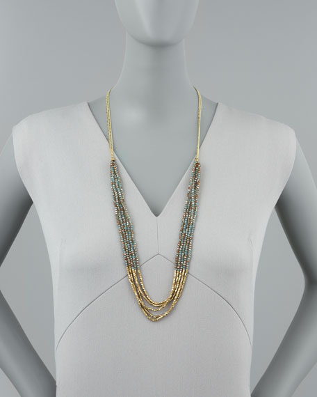 Multi-Chain Beaded Necklace, Golden