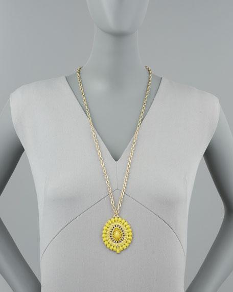 Epoxy Pendant Necklace, Yellow