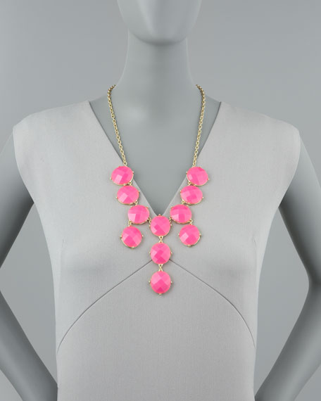 Bubble Bib Necklace, Hot Pink