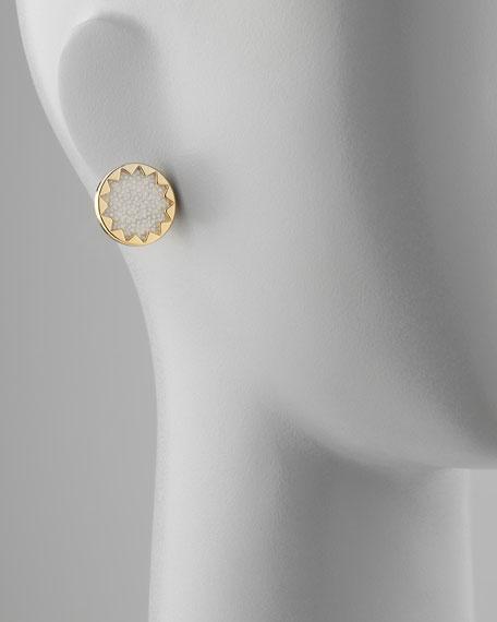 Sandburst Stud Earrings, White