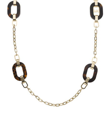 Link-Station Necklace, Golden/Tortoise
