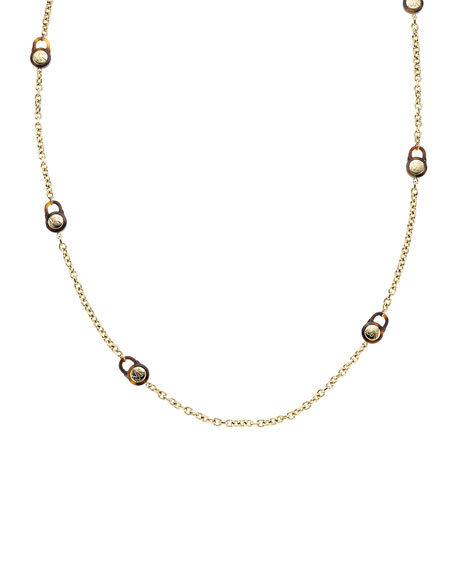 Padlock Station Necklace, Golden