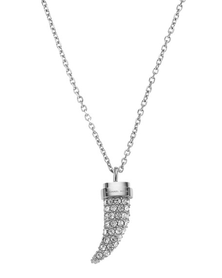 Pave Horn Pendant Necklace, Silver Color