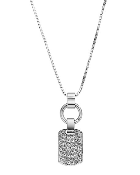 Pave Dog Tag Necklace, Silver Color