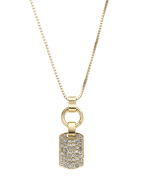 Pave Dog Tag Necklace, Golden