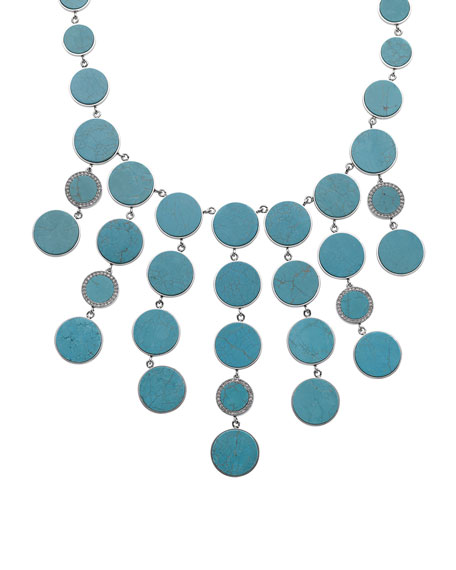 Turquoise Bib Necklace, Silver Color