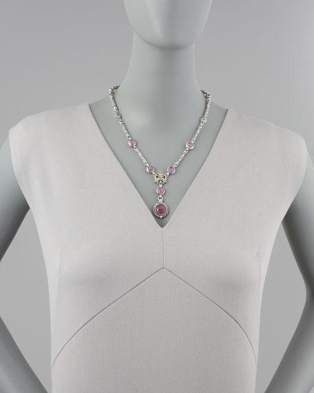Ruby/Quartz Doublet Tube Filigree Necklace