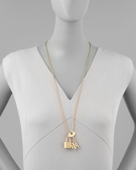 Tory Burch Riley Lock & Key Pendant Necklace