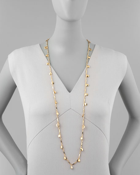 Gold Plate Logo Paillette Necklace