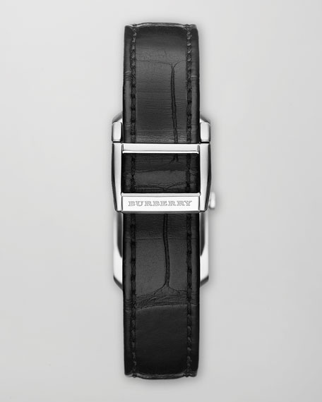 Stainless Steel Diamond Watch & Black Alligator Strap, 20mm