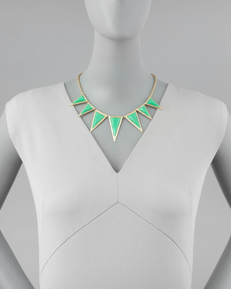 Triangle Spike Pendant Necklace, Green