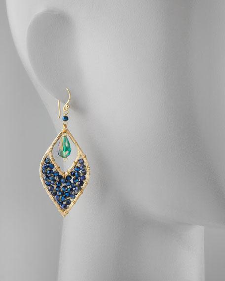 Beaded Crystal Drop Earrings, Navy/Teal