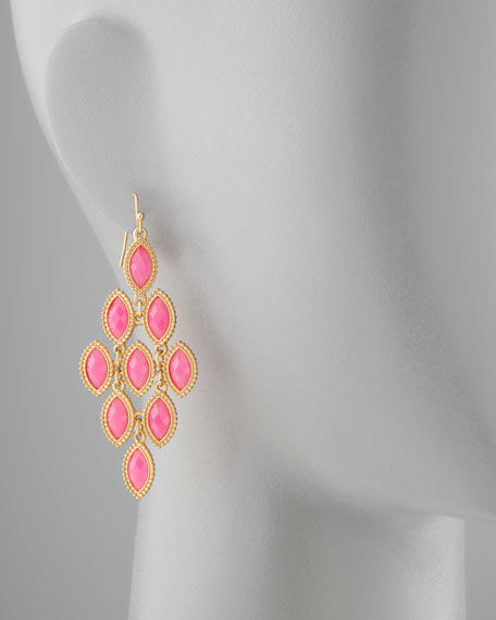 Resin Disc Drop Earrings, Pink