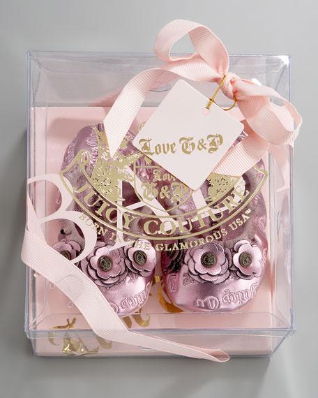 Metallic Ballerina Crib Shoe, Pink