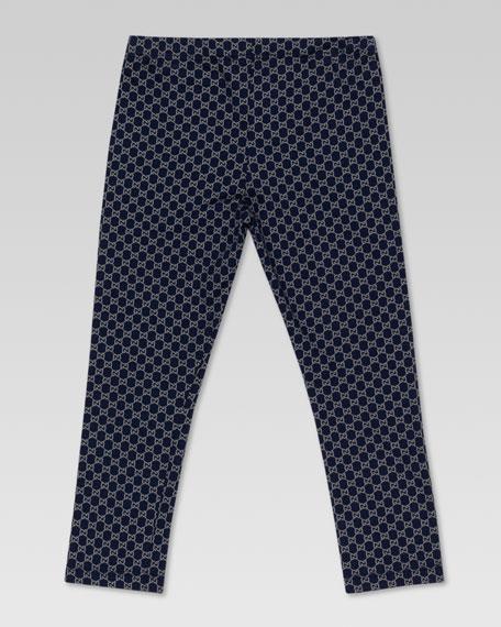 Mini GG-Print Leggings, Oltremare/Gray
