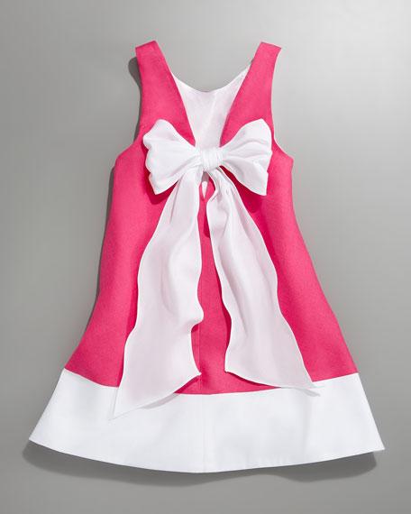 Bow-Back A-line Shift Dress, Sizes 2T-3T