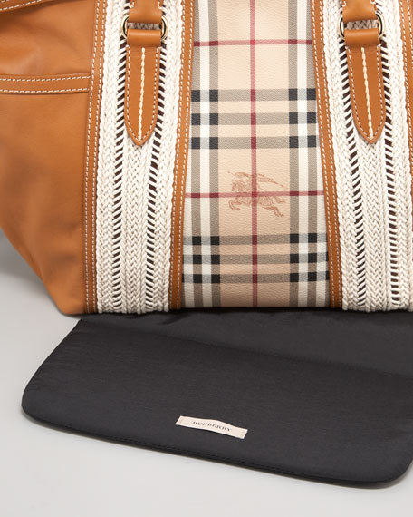 Check & Leather Diaper Bag