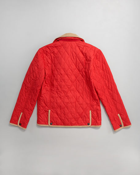 Red Classic Quilted Jacket, 2-7T
