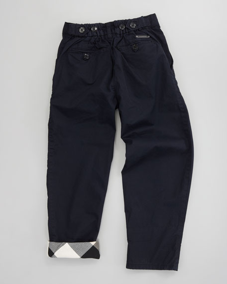 Check-Cuff Twill Pants, Sizes 2-6