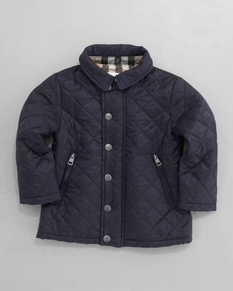 Hooded Quilted Jacket, Navy