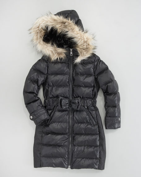 Long Quilted Hooded Coat