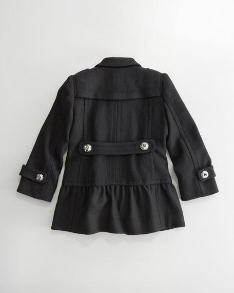 Ruffle-Hem Pea Coat