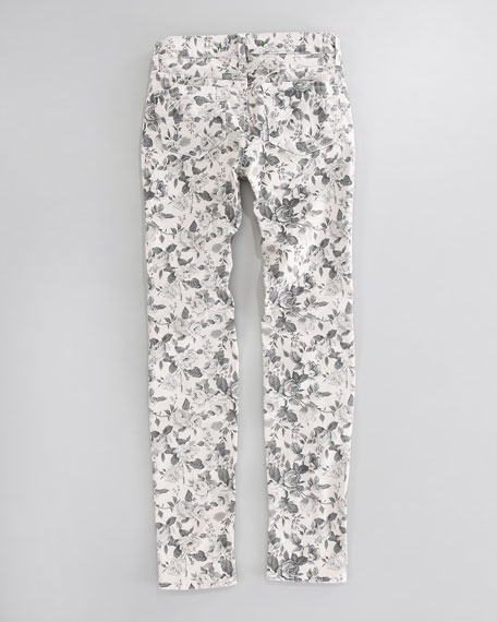 Floral Twill Skinny Jeans