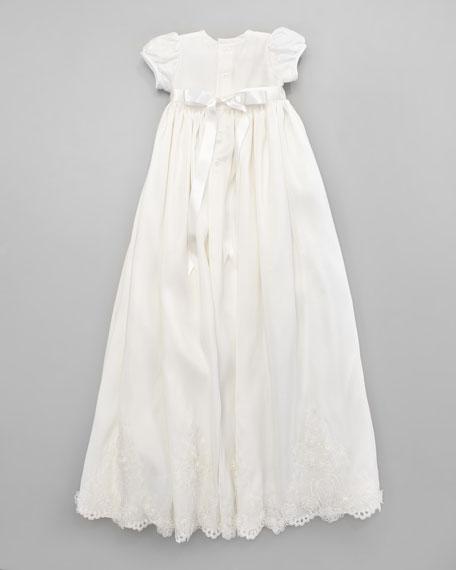 Silk Christening Gown & Embroidered Bonnet