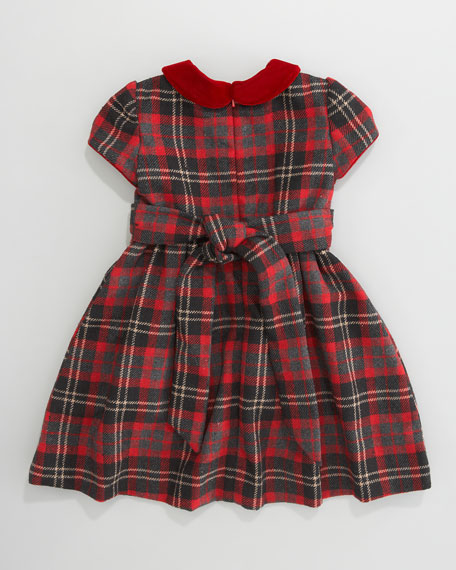 Anna Plaid Cap-Sleeve Dress