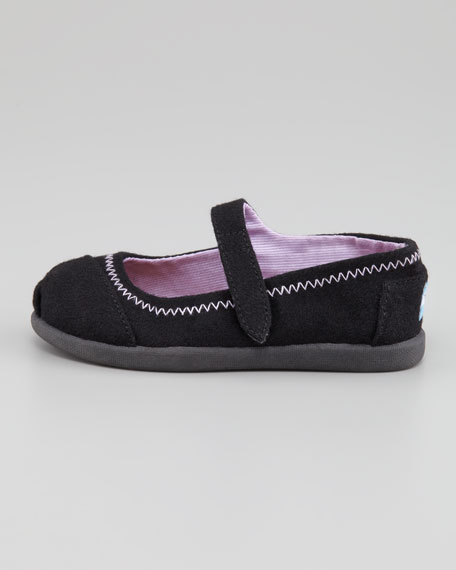Tiny Canvas Zigzag Mary Jane Slip-On, Black