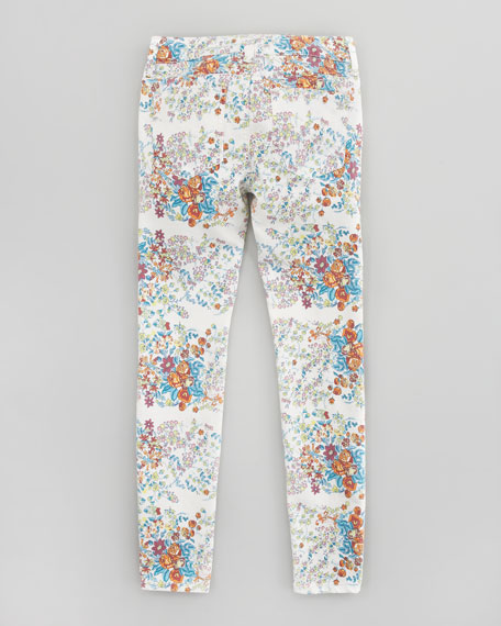 Floral Denim Leggings, Sizes 8-10
