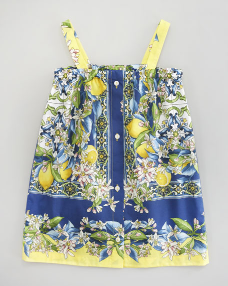 Floral-Lemon Print Poplin Dress, Sizes 4-6