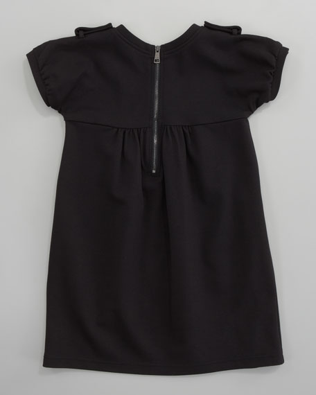 Short-Sleeve Jersey Dress, Black