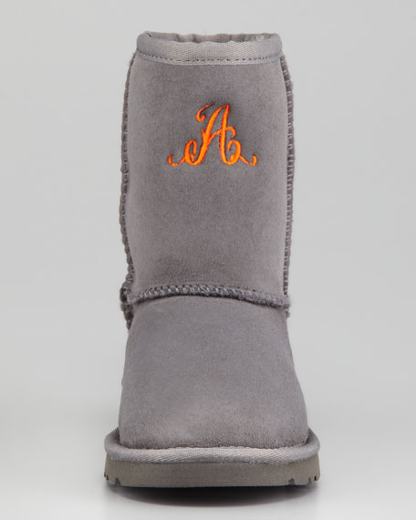 Monogrammed Youth Classic Short Boot, Gray