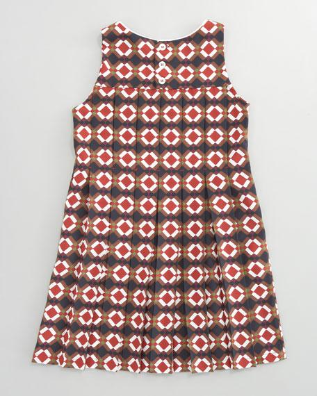 Geometric-Print Pleated Dress, Sizes 2-6