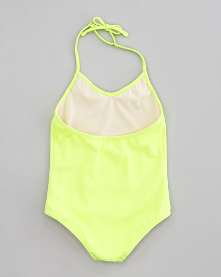Neon Ruffle Halter One-Piece, Sizes 8-10