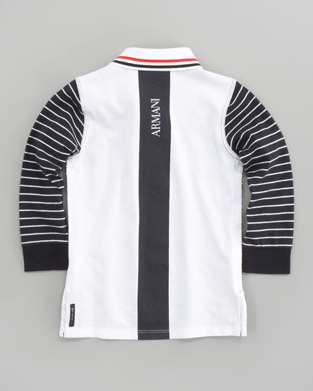 Long Sleeve Striped Polo Shirt, Navy/White