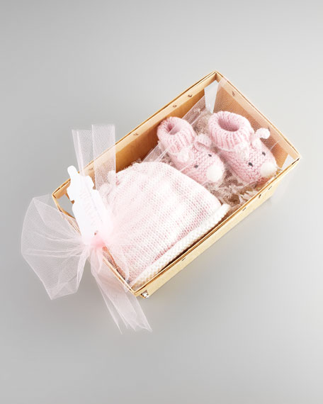 Bunny Hat and Bootie Set, Light Pink