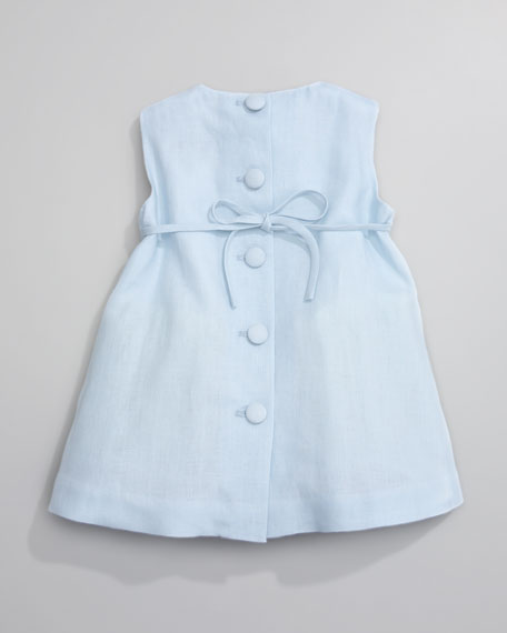 Linen Pleated Dress, Light Blue