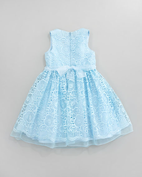 Lace Overlay Flower Dress, Aqua