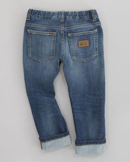 Dark Denim Five-Pocket Jeans, Sizes 4-6
