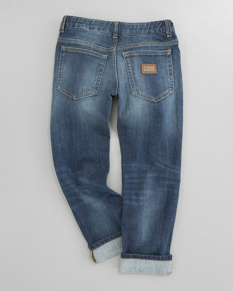 Five-Pocket Denim Jeans, Sizes 8-10