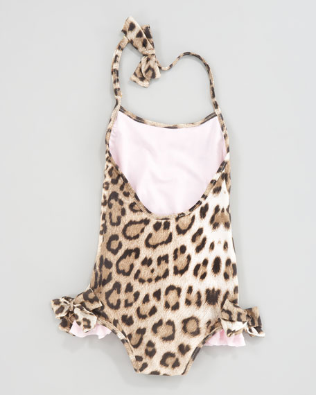 Leopard-Print Ruffle-Trim Swimsuit, Sizes 2-6