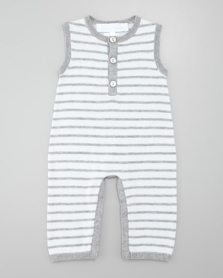 Striped Knit Playsuit & Button Front Knit Cardigan, Light Blue