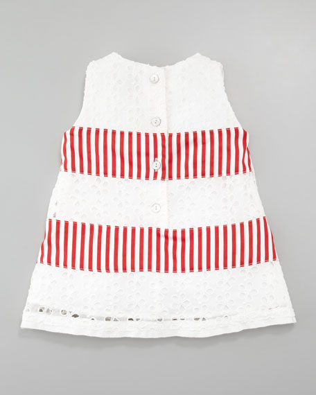 Eyelet and Striped Sleeveless Dress, Red/White